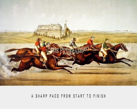 Fine art Horseracing Print of the 1800's Racing and Trotting of A Sharp Pace from Start to Finish